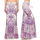 Boho Purple/Pink Sublimation high waist maxi long skirt (S/M/L/XL/1XL/2XL/3XL)