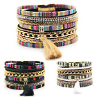 Charm Women Leather Bracelet Rhinestone Bangle Charm Wristband Cuff Fashion Gift