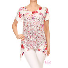 Women Boho Rose Pink/Red Dipped Hem Short sleeve T-shirt Top (S/M/L/XL)