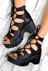 ZEVA Chunky Heel Lace Up Cut Out Sandals Ankle Boots Shoes In Black PU