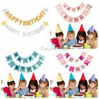 3M Happy Birthday Bunting Pastel Gold Letter Party Hanging Glitter Banners Decor