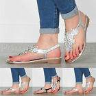 WOMENS LADIES FLAT LOW WEDGE DIAMANTE FLOWER JEWEL TOE POST HOLIDAY SANDALS SIZE