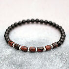 Mahogany Obsidian Bracelet With Black Onyx & Sterling Silver Stretch Fit UK