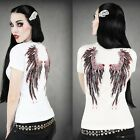 Women Short Sleeve T-shirts 3D Tattoo Wing Prints Scoop Neck Tops Blouse Casual