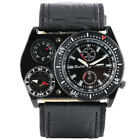 OULM Compass Deco Army Military Leather Band Men Sport Quartz Wrist Watch Gift image