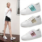 Stylish Girl's Sequins Rivet White Shoes Casual Women's Flat Plate Shoes Sneaker