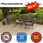 Cushioned Patio Set Seats 4 w/ Sofa Chairs Glass Top Coffee Table Garden Outdoor