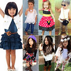 Fashion Kids Baby Girls Summer Floral Clothes Outfits Top /Dress Pants Sets 1-9Y