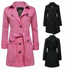 New Ladies Long Trench Button Womens Double Breasted Mac Belted Coat Jacket Top