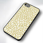 GOLD CAT PATTERN RUBBER PHONE CASE COVER FITS IPHONE 4 5 6 7 (#BR)
