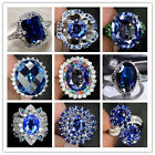 Woman Fashion Jewelry 925 Silver Ring Blue Sapphire Man Wedding Ring Size 6-10