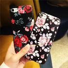Rubber Print Flower Pattern TPU Silicone Gel Case Cover For iPhone 5 6s 6 7 Plus