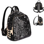 Women Sequin Faux Leather Small Backpack Rucksack Daypack Cute bag Purse Travel