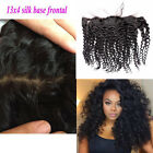 "13""x4"" 100% Brazilian Deep Curly Ear to Ear lace Silk Base Lace Frontal Closure"