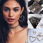 1Pair Hollow Dangle Double Heart Earrings Gold Plated Ear Studs Fashion Jewelry