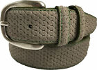 SUEDE ITALIAN LEATHER BELT BEIGE GREEN STITCHING CHAIN LINK DESIGN large
