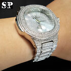 MEN'S HIP HOP WHITE GOLD PT LUXURY WATCH & BIG CZ STONE BRACELET COMBO GIFT SET