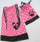 """Minnie Mouse 2 Pillowcase Dresses Girl (Size 4-12) & American Doll Dress (18""""T)"""
