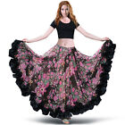 C249 Belly dance Flamenco Skirt with 360 Grad Tribal Circle in Flower Motif