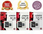 100 Original Kingston 8GB 16GB 32GB SDHC Class 4 Micro Memory SD Card + Adapter