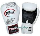 twins sparring gloves - TWINS BOXING GLOVES FBGV-6 WHITE  FANCY DRAGON PATTERN  SPARRING MUAY THAI MMA