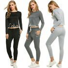 Casual Women O-Neck Long Sleeve Top and Loose Pants Tracksuit Sportswear Sets