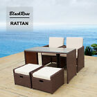All-Weather Wicker Casual Patio Furniture Dining Set - Seats 4 cube Garden Deck
