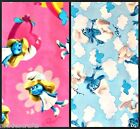 """Blue Smurfs Boy or Pink Smurfette Fabric sold by the 1/2 yard  also have 16"""" pc"""