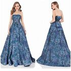 TERANI COUTURE 1621E1500 STRAPLESS BROCADE GOWN WITH BOW IN  BACK $924 AUTENTIC