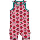 BNWT New Girls Baby Maxomorra Strawberry Short Jersey Dungarees Playsuit Pink
