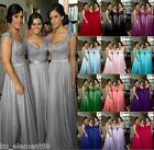Plus Size UK 6-30 Cap Sleeve Bridesmaid Dress Chiffon Evening Lace Prom Gown New