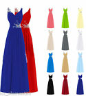 Plus Size UK 6-30 Straps Bridesmaid Dress Chiffon Evening Prom Cocktail Gown