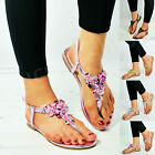 New Womens Ladies Summer Flower Sandals Diamante Sling Back Flat Shoes Size Uk