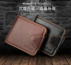 Stylish Billfold Men's Leather Trifold Wallet Coin Pocket ID Card Clutch Purse