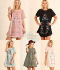 UMGEE Floral Embroidered Boho Dress Lace Trim Peasant Tunic Top Olive Rose Black
