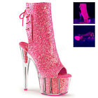 PLEASER ADORE 1018G NEON PINK GLITTER PLATFORM POLE DANCING ANKLE BOOTS