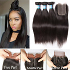 "Peruvian Straight Human Hair 3 Bundles With 4""X4"" Lace Closure Hair Extensions"