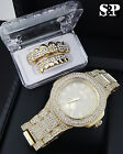 MEN HIP HOP ICED OUT LAB DIAMOND WATCH & ICED OUT GOLD PT GRILLZ COMBO GIFT SET  image