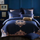 Embroidered Doona Quilt Duvet Cover Set Navy Sheet Cotton Queen King Size Bed
