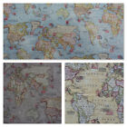 Atlas World Globe Map Cotton Linen Fabric Curtain Blinds Craft Quilting Cushions
