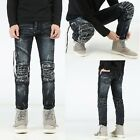 Men's Motorcycle Style Knee Ripped Stitching PU Distressed Pants Long Slim Jeans