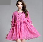 Women Summer Fashion Sexy Lace Floral Med Sleeve Above Knee Dress Plus Size L-4X