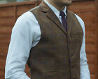 Mens Milano Tweed Collared Waistcoat Check Notched Lapel S to XXL Vintage