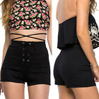 Fashion Womens Cotton Shorts High Waist Bottom Bandage Lace Up Pants Gift