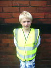 KIDS HI VIS VISIBILITY FLUORESCENT YELLOW SAFETY WAISTCOAT SCHOOL JACKET