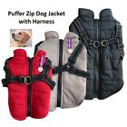 Puffer Dog Jacket with Zip & Harness Dogs Pet Puppy Coat Vest Black Brown Red
