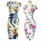 Women Retro Vintage 50s 60s Rockabilly Pencil Dress Floral Chinese style Summer