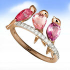 3ct Ruby Pink Sapphire Women 925 Silver Wedding Bird Engagement Ring Size 6-10