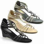 Ladies Womens Mid Wedge Heel Peep Toe Ankle Strap Summer Party Sandals Shoe Size