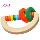 Colorful Educational Musical Toy Wooden Baby Hand Bell Ring Rattle